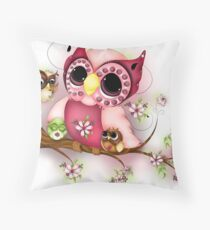 Under Her Wings - Mothers Day Owl Art Throw Pillow