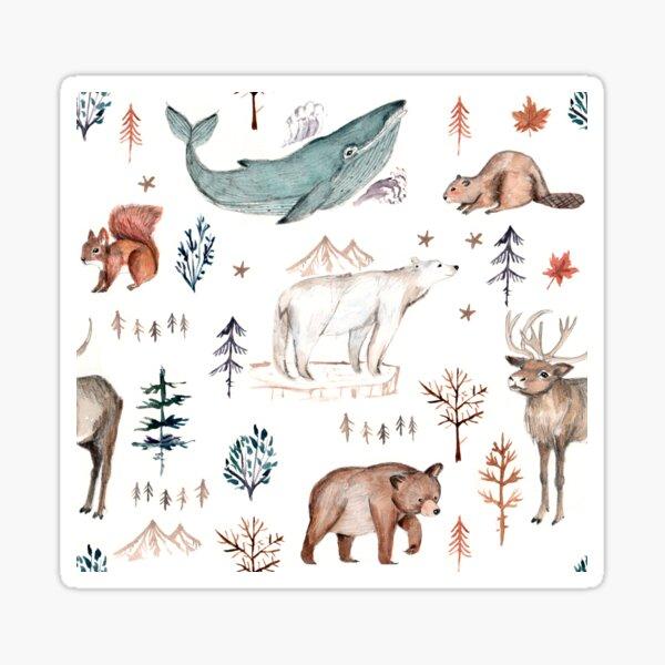 Canadian animals watercolor artwork beige Sticker
