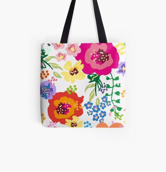 Large Print Springtime Floral All Over Print Tote Bag
