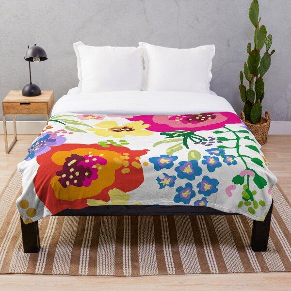 Large Print Springtime Floral Throw Blanket