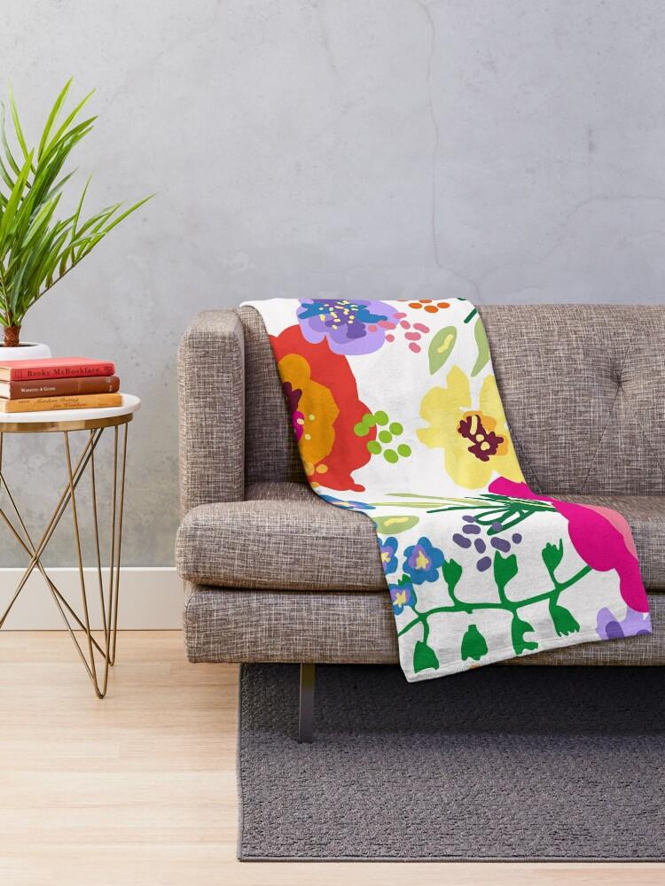 Alternate view of Large Print Springtime Floral Throw Blanket