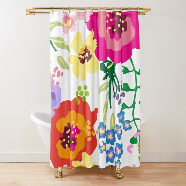 Large Print Springtime Floral Shower Curtain