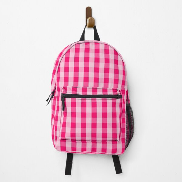 Hot Neon Pink on Pink Gingham Check Tartan Squares Backpack
