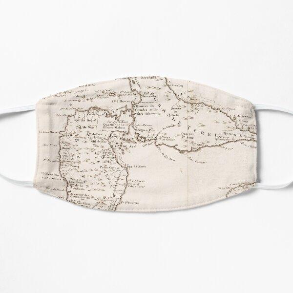 Carte vintage de l'île de Guadeloupe (1780) Masque sans plis