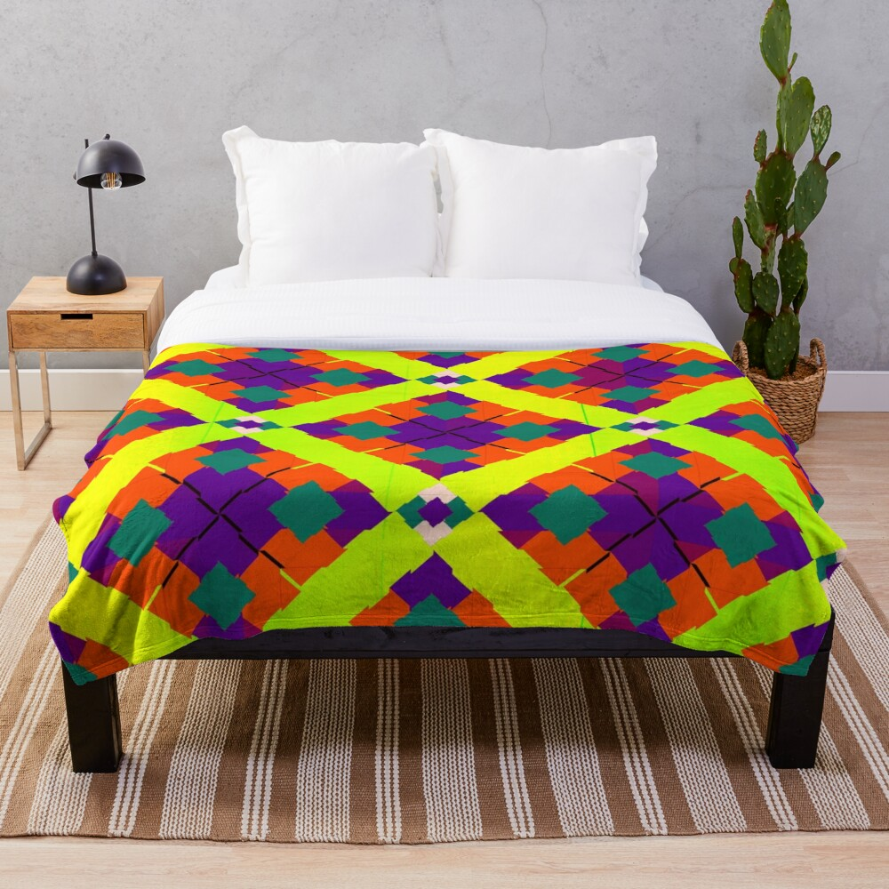 Colorful Bright Eclectic Fabric Print Throw Blanket