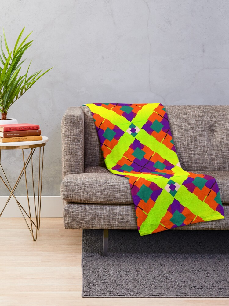 Alternate view of Colorful Bright Eclectic Fabric Print Throw Blanket