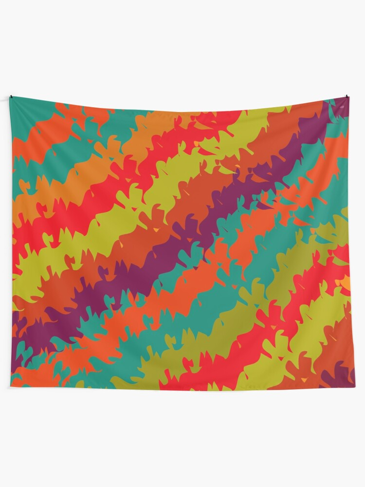 Alternate view of Bright Waves and Stripes Print Tapestry