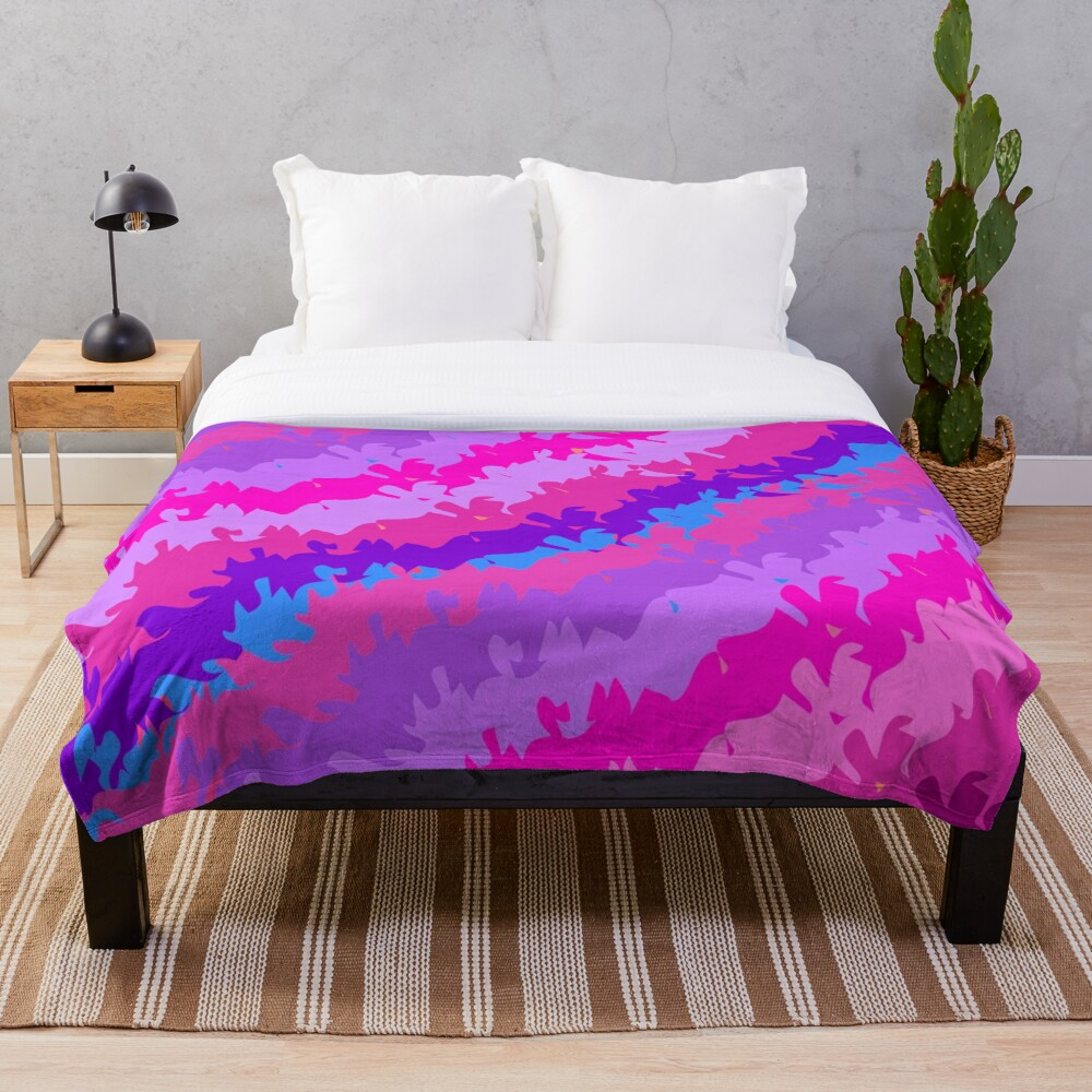 Bright Waves and Stripes Fabric Print Throw Blanket