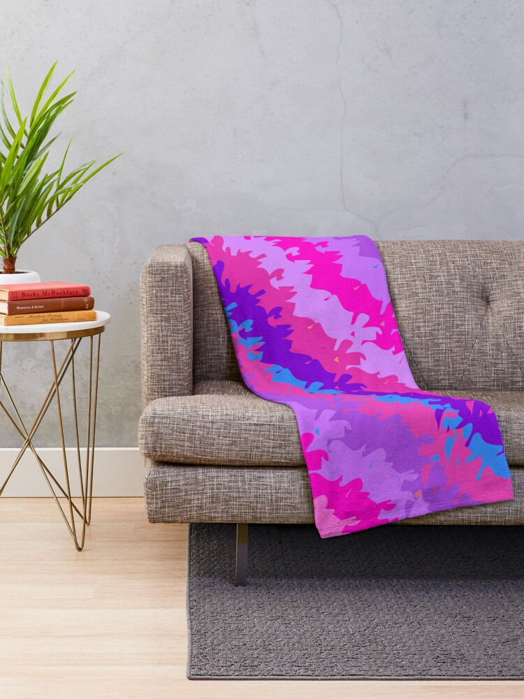 Alternate view of Bright Waves and Stripes Fabric Print Throw Blanket