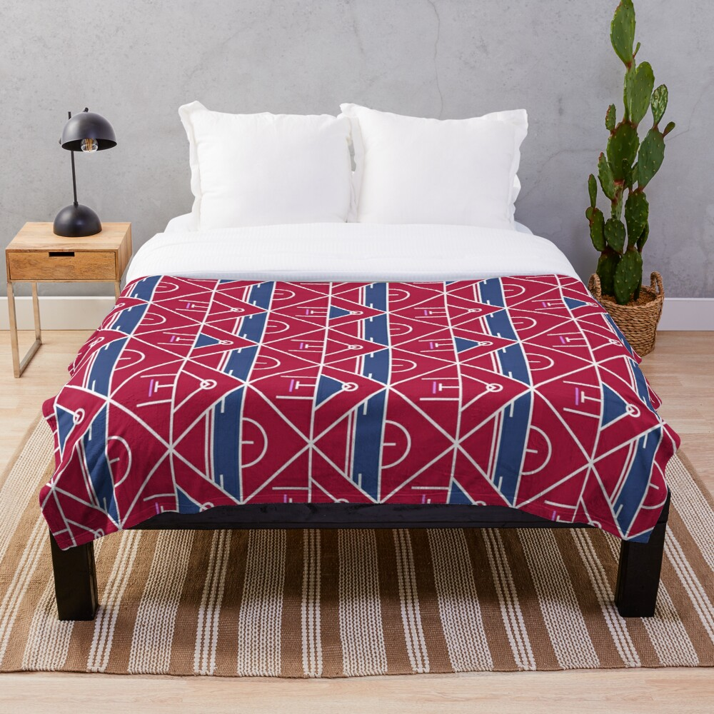 Intricate Red Blue Geometric Fabric Throw Blanket