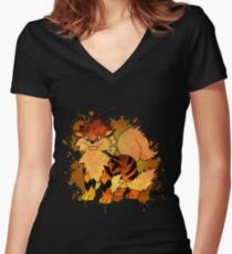 Arcanine - with background Women's Fitted V-Neck T-Shirt
