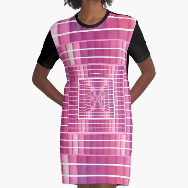Girly Colorful Stripe Fabric Graphic T-Shirt Dress