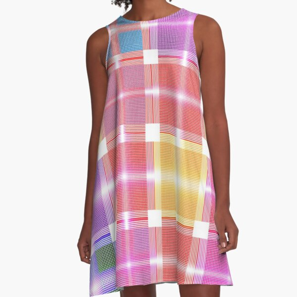 Shades of Pastel Patchwork Fabric A-Line Dress