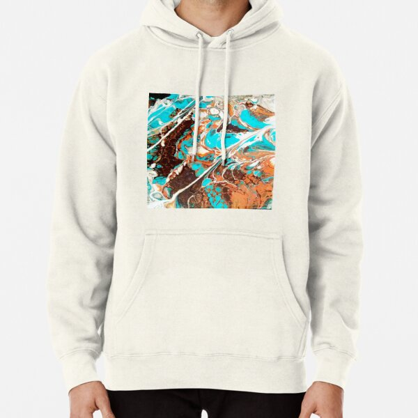 Earth and Sea ; Rocks of Sardonia / acrylic pour turquoise umber sienna Pullover Hoodie