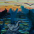 Elephant and Rhino swimming with Whales by George Hunter