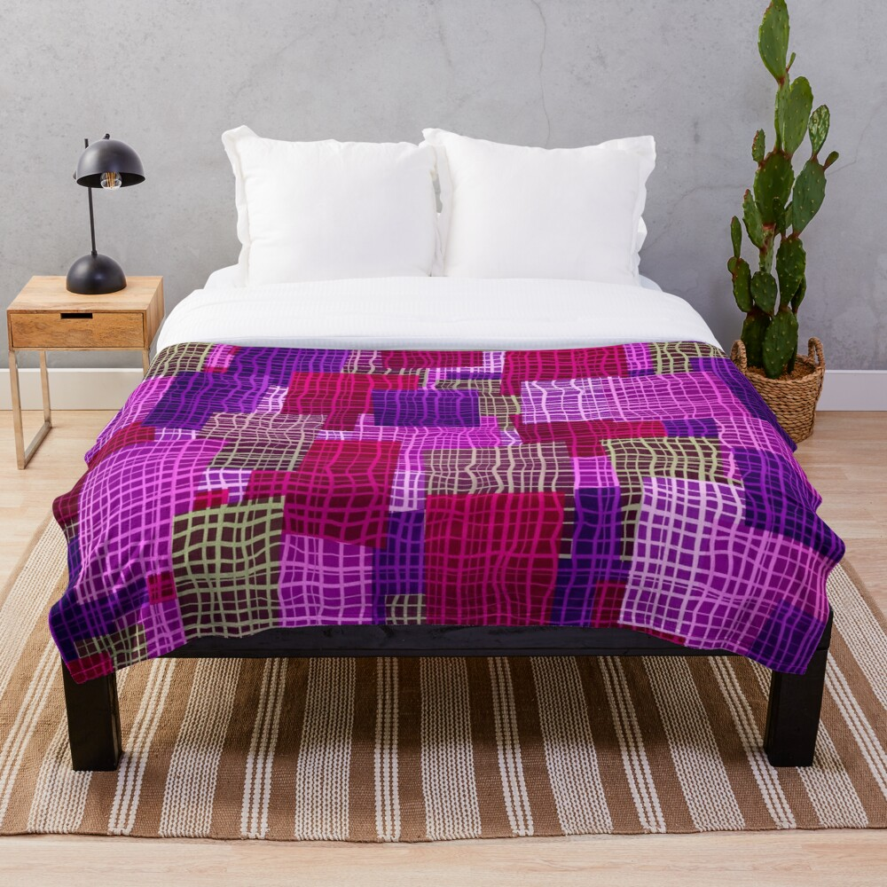 Geometric Woven Color Block Print Throw Blanket