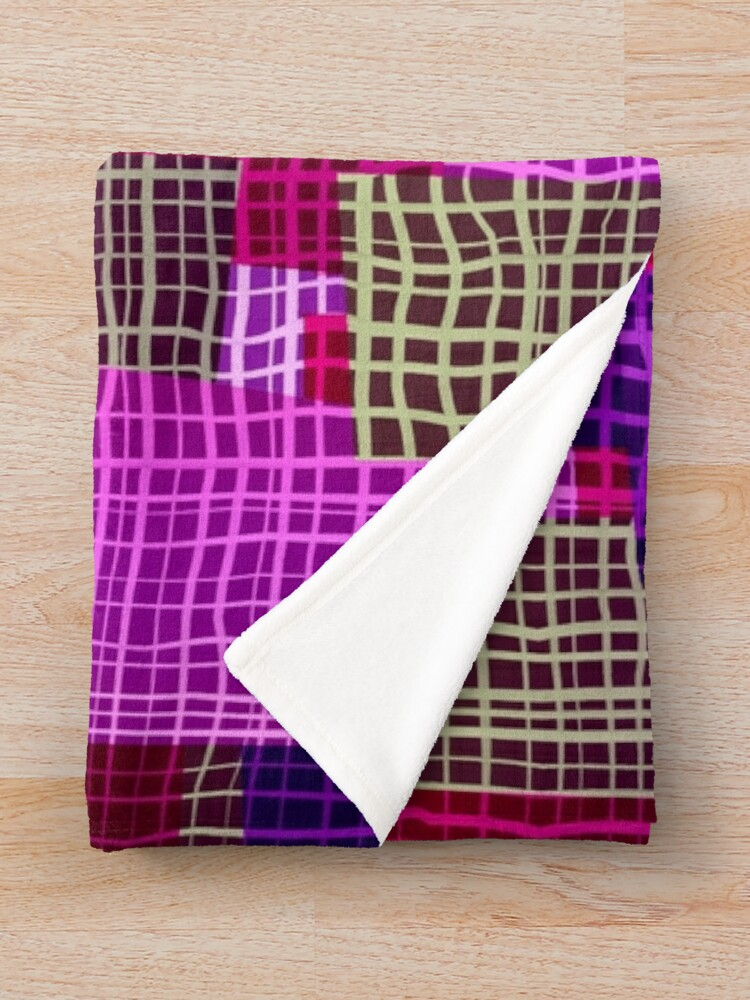 Alternate view of Geometric Woven Color Block Print Throw Blanket