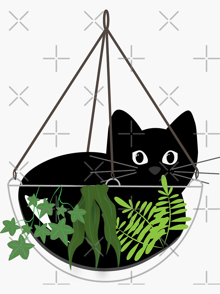 Black Cat Hanging Planter by cassietown1997