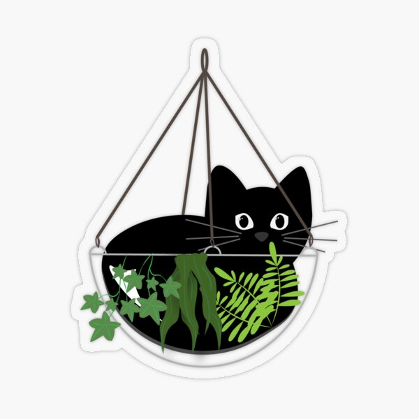 Black Cat Hanging Planter Transparent Sticker