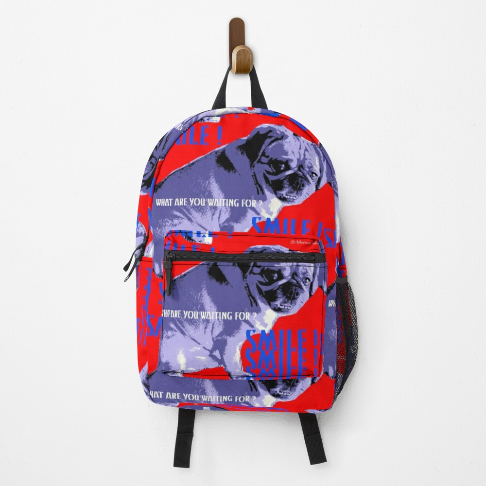Smile - What Are You Waiting For? Pugalier Pug  Backpack