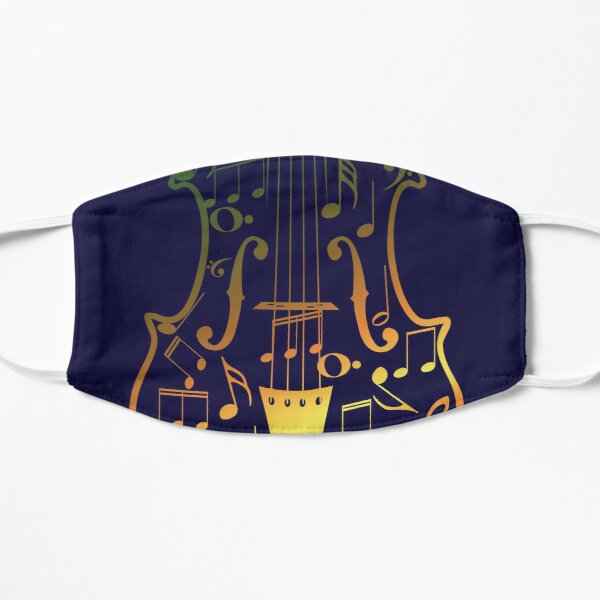 Colorful Violin with Notes Flat Mask