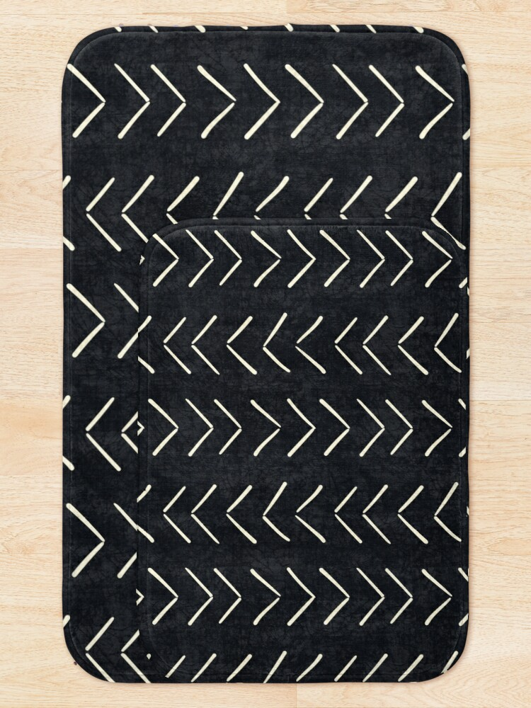 Alternate view of Mud Cloth Big Arrows in Black and White Bath Mat