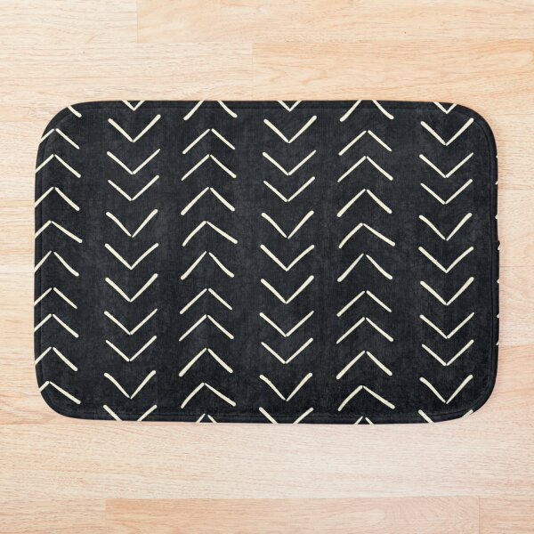 Mud Cloth Big Arrows in Black and White Bath Mat