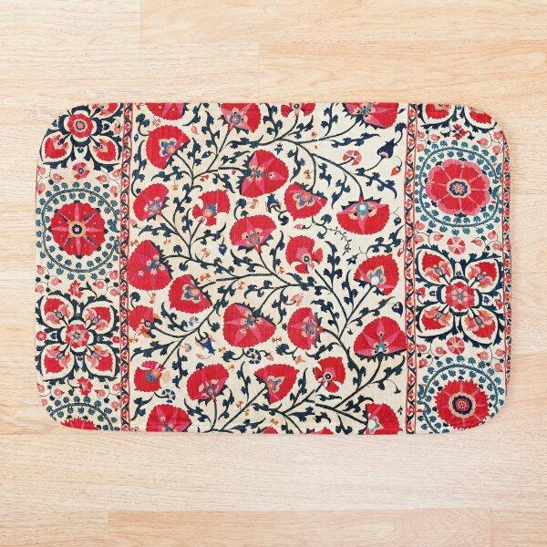 Shakhrisyabz Suzani Uzbekistan Floral Embroidery Print Bath Mat