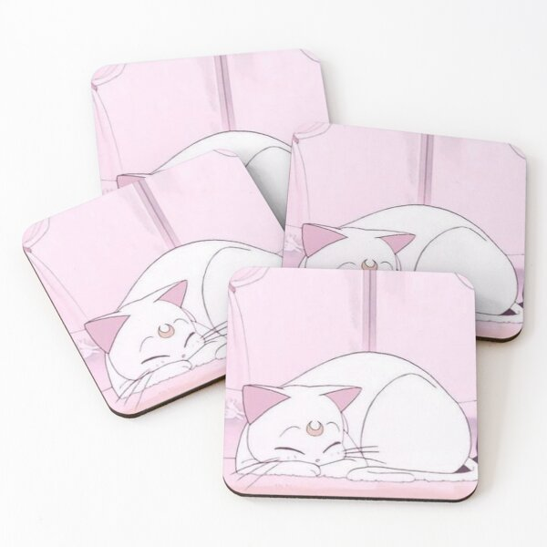 Cute Kawaii Sailor Moon Anime Inspired Kitten Coasters (Set of 4)