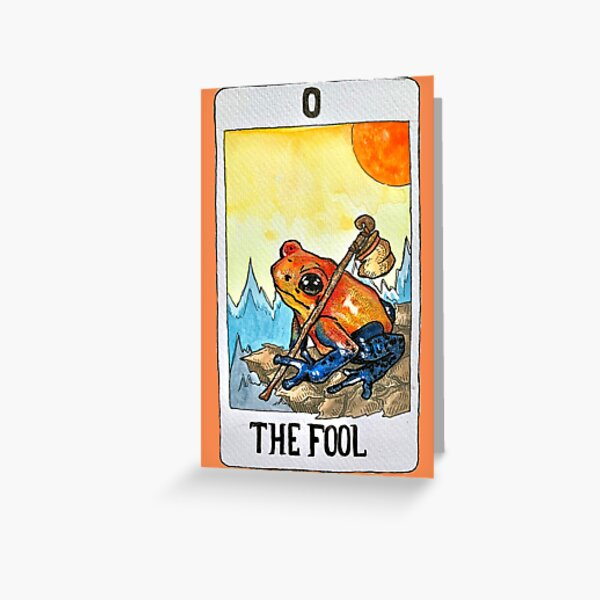 The Fool Frog Tarot (Coloured) Greeting Card