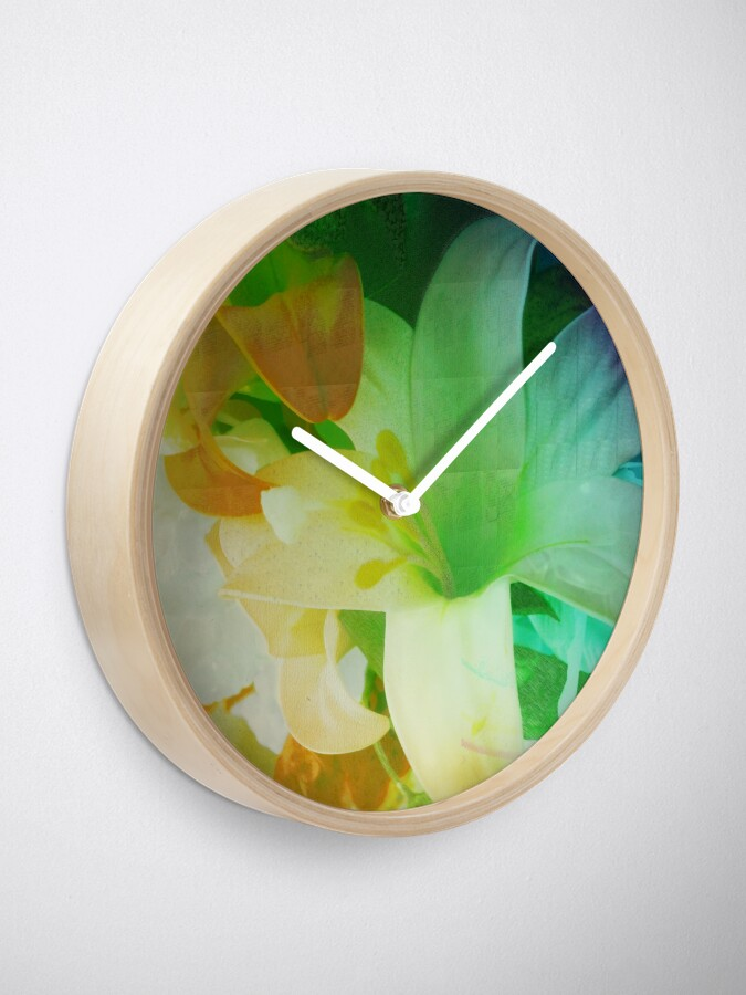 Alternate view of Texturized Flowers Clock