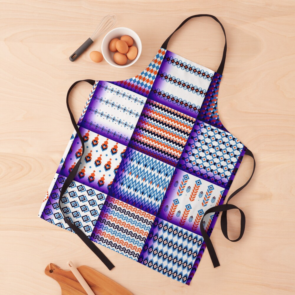 Metallic Purple Patchwork Square Tiles Geometric Print Apron