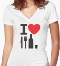 I love NY - a knife, a fork, a bottle and a cork that's the way you spell New York Women's Fitted V-Neck T-Shirt