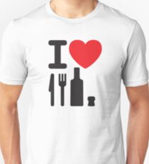 Camiseta ajustada I love NY - a knife, a fork, a bottle and a cork that's the way you spell New York