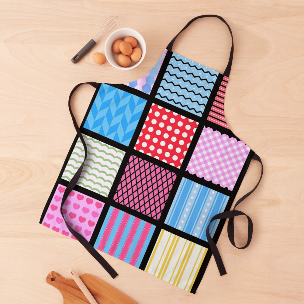 Trendy yet Cute Patchwork Stripe Polka Dot Quilt Chevron Print. Apron