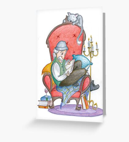 Don Quichot is reading his chivalry books Greeting Card