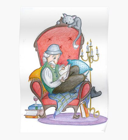 Don Quichot is reading his chivalry books Poster