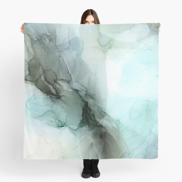Calm Nature Inspired Abstract Flow Landscape Painting Scarf