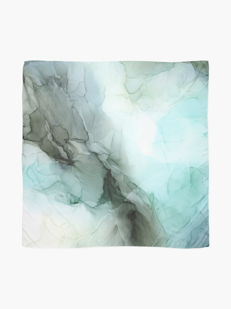 Alternate view of Calm Nature Inspired Abstract Flow Landscape Painting Scarf