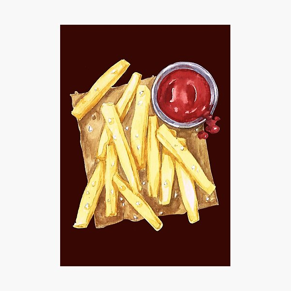 Fries with Ketchup and Sea Salt Photographic Print