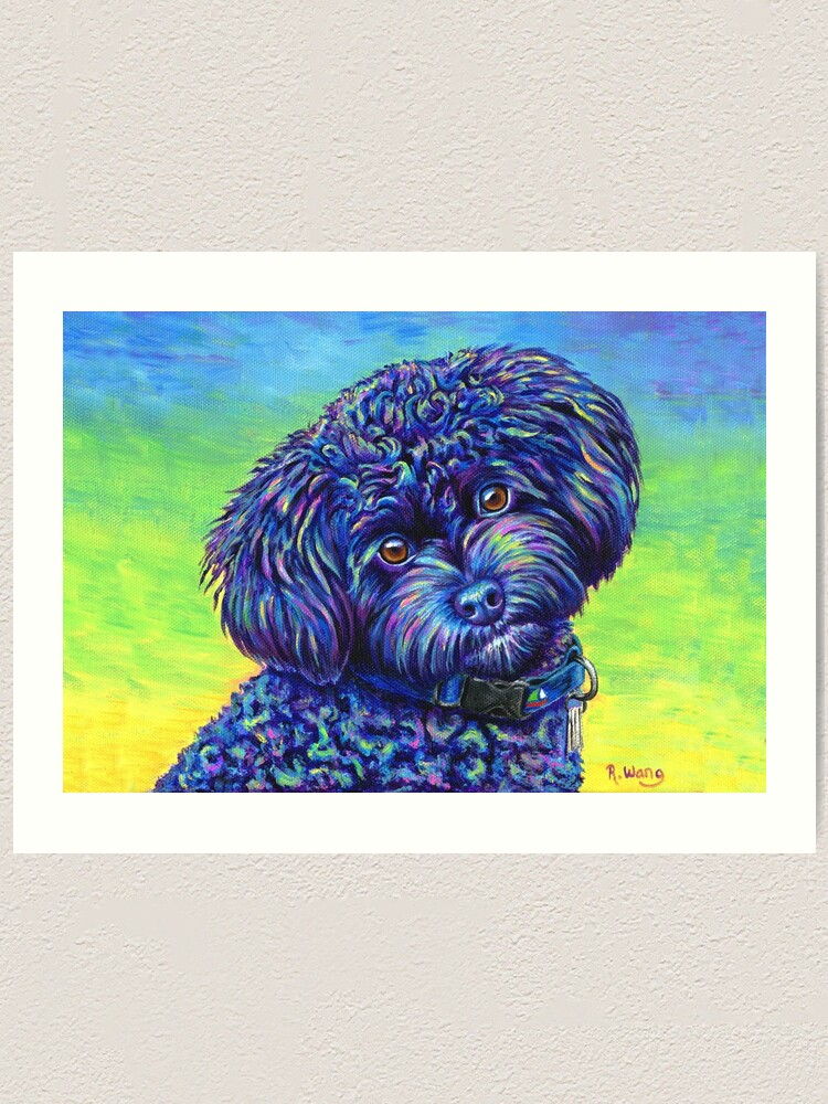 Alternate view of Opalescent Black Toy Poodle Art Print