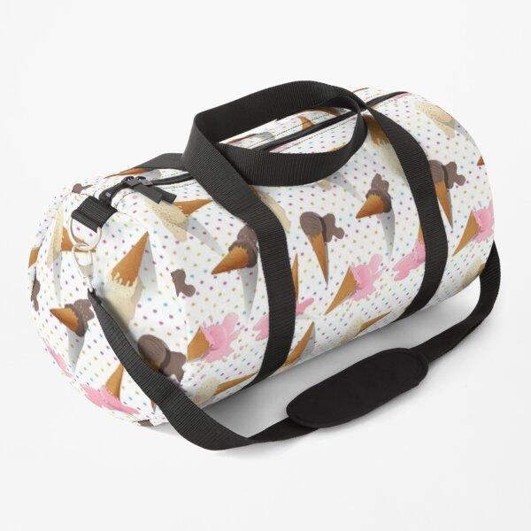 Illustration - Dropped Ice Cream Cone on Polka Dots Duffle Bag