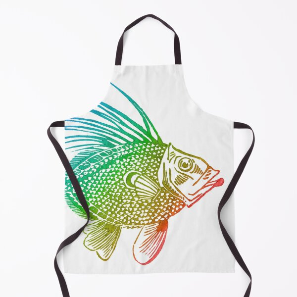 John Dory Linocut Rainbow Fish Apron