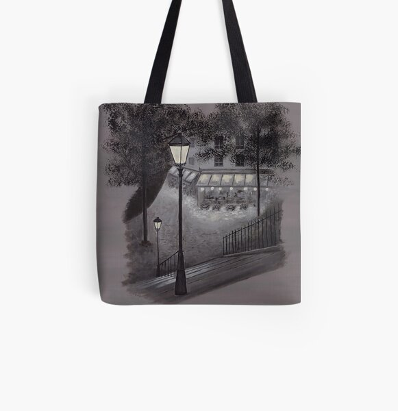 Cafe With the Luxurious Cat All Over Print Tote Bag