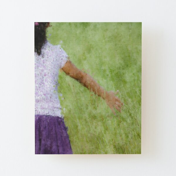 Little Girl in the Tall Grass Wood Mounted Print