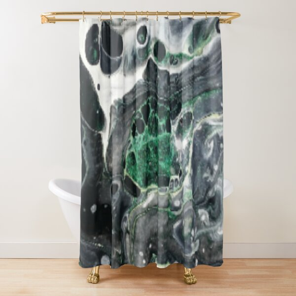 "Resin Art#7 ""Emerald Marble""  Shower Curtain"