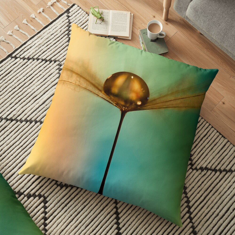 Flight Of The Teardrops Turquoise & Mustard II Floor Pillow
