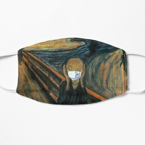 The Scream by Edvard Munch with face mask (Corona parody) Flat Mask