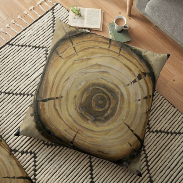 Elm Tree Slab Nature Art Floor Pillow