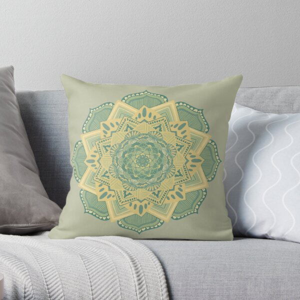 Sage and Yellow Mandala Throw Pillow